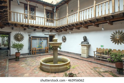 BOGOTA, COLOMBIA - OCTOBER 22, 2015: House of Manuela Saenz in the downtown. She was a revolutionary hero of South America and the mistress of Simon Bolivar, the South American revolutionary leader.