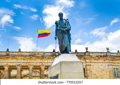 BOGOTA, COLOMBIA - OCTOBER 22, 2017: statue monument of Simon de Bolivar at Bolivar Plaza in Bogota, Colombia