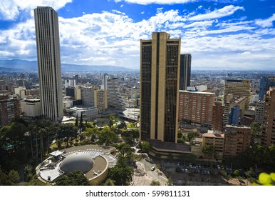 Bogota Colombia Panoramic View, buildings and vegetation. View of the city center.