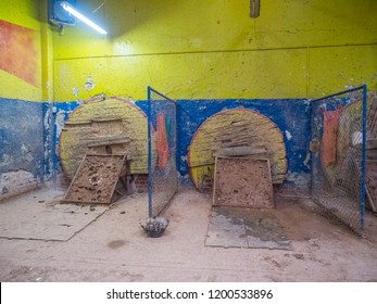 Bogota, Colombia - September 13, 2018: Colombian tejo game in the local tejo club.Tejo, also known, to a lesser degree, as turmeque, is a traditional throwing sport in Colombia.