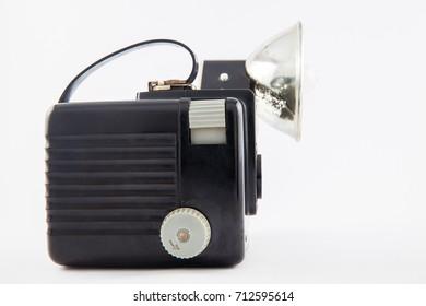 BOGOTA, COLOMBIA - SEPTEMBER 2017. Antique Brownie Hawkeye Kodak camera isolated on white background