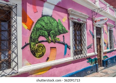 BOGOTA, COLOMBIA - SEPTEMBER 24, 2015: Wall covered by graffiti in the La Candelaria neighborhood of Bogota, capital of Colombia.