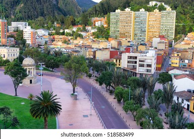 Bogota, Colombia with a view of a plaza known as Parque de los Periodistas