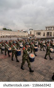BOGOTA, COLUMBIA - JANUARY 18: Colombian soldiers were marching and performing during a military parade in Historical Central, Plaza de Bolivar on January 18, 2009 in Bogota, Colombia.