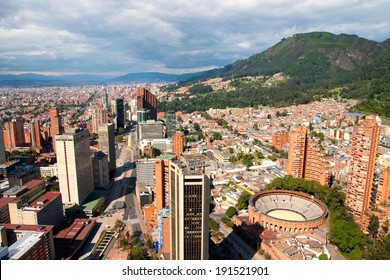 BOGOTA, FEB. 2, 2014: A view of sunny Bogota center with the Santamaria bullring and the Andes mountains in the background on February 2, 2014