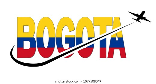 Bogota flag text with plane silhouette and swoosh illustration