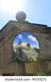 Bogota government building in mirror and sun