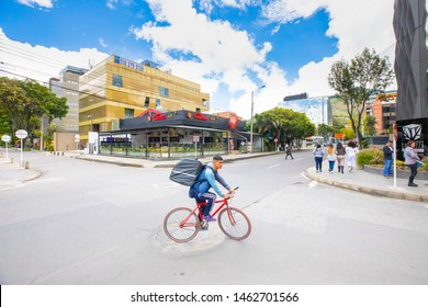 Bogota, July 6  Pony express on a bike in Usaquen district  Bogota that encourages the bike use a to reach a sustainable growth. Shoot on July 6, 2019