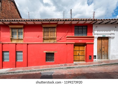 BOGOTA - NOV 13: Scene in the La Candelaria neighborhood of Bogota, Colombia on November 13, 2017.  The district is known for its colorful Spanish colonial architecture.