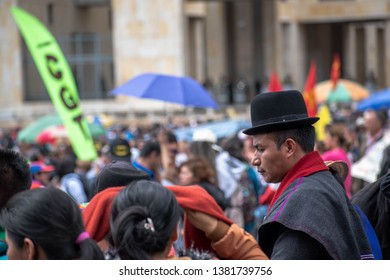 BOGOTA,COLOMBIA. APRIL 25. 2019: COLOMBIAN INDIGENOUS SUPPORTING THE PROTEST AT BOGOTA DOWNTOWN