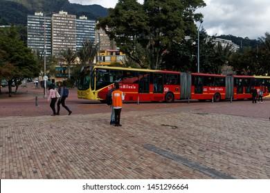 Bogota/Colombia-2/5/2019: A TransMillenio metrobus in central Bogota.
