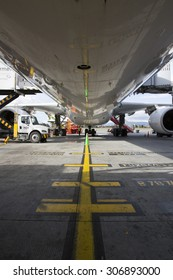 BOGOTA,COLOMBIA/COLOMBIA-AUGUST 5: big jet airliner aircraft been serviced before departure on august 5th 2015 in El Dorado airport, Bogota, Colombia