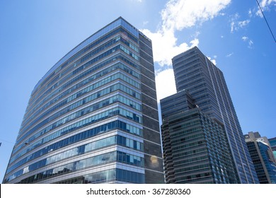 """BOGOTA,COLOMBIA-SEPTEMBER 13,2015: View from Below of modern office buildings of the complex know as """"Teleport Business Center"""" at Bogota."""