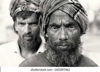 BOGRA, BANGLADESH - DECEMBER 26, 2017: Unidentified brickfield workers in Bangladesh.