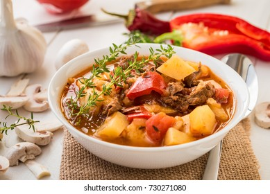 Bograch - Hungarian soup goulash with meat and vegetables.