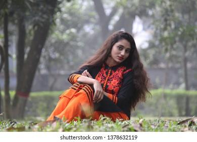 Bogura Bangladesh December 17 2017 A Bangladeshi Girl Poses For Portrait