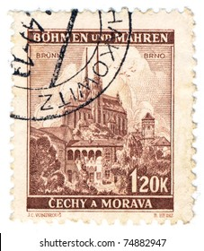 BOHEMIA - CIRCA 1939: A stamp printed during german occupation of Czechoslovakia, shows Castle Spilberk and Cathedral st. Peter and Paul in Brno, series, circa 1939