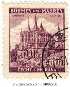 BOHEMIA - CIRCA 1941: A stamp printed during german occupation of Czechoslovakia, shows of Kuttenberg Castle, series, circa 1941