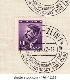 BOHEMIA and MORAVIA-CIRCA 1942:A stamp printed in Czechia,shows Standard postage stamp Adolf Hitler-Fuhrer,chancellor,black and purple color.Postmark was from city Zlin,circa 1942.