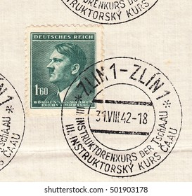 BOHEMIA and MORAVIA-CIRCA 1942:A stamp printed in Czechia,shows Standard postage stamp Adolf Hitler-Fuhrer,chancellor,blackish blue-green color.Postmark was from city Zlin,circa 1942.