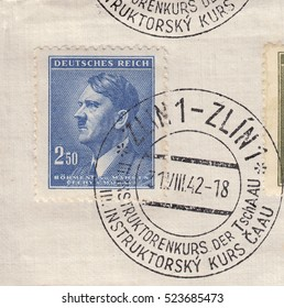 BOHEMIA and MORAVIA-CIRCA 1942:A stamp printed in Czechia,shows Standard postage stamp Adolf Hitler chancellor,violet ultramarine color.Postmark was from city Zlin,circa 1942.