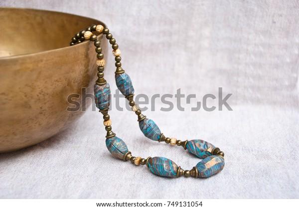Bohemian Beaded Necklace Polymer Clay Handmade Stock Photo
