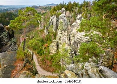 Bohemian Paradise - Prachov Rocks, Peace viewpoint. Most popular tourist destination in Czech Republic, Cesky raj - Prachovske skaly, Vyhlidka miru