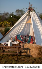 Bohemian style of  pavilion or tent adapted for festival or decorations interior and outer space, idea concepts