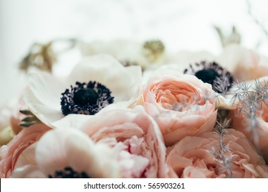 Bohemian wedding bouquet with beautiful flowers