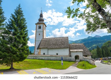 Bohinj church in the Ribcev Laz village. Old ancient and historical building.