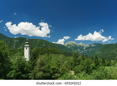 Bohinj, Slovenia, with the Alps in the distance.