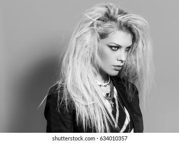 Boho beautiful girl monochrome portrait wearing blazer and accessories