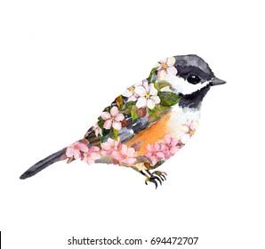 Boho bird in flowers. Watercolor
