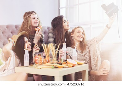 Boho style girl at home party