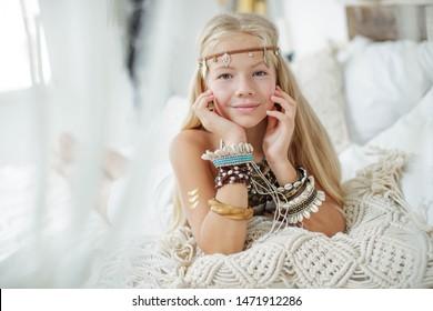 Boho style. Teen girl dressed in boho style.