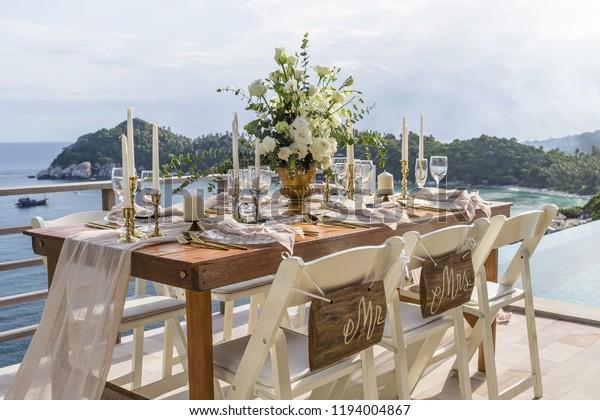 Style Boho Theme Mariage Romantique Table Photo De Stock
