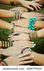 boho style women's hands with accessories