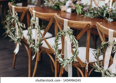Boho wedding chair with eco decor for guests.