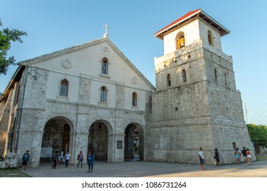 Bohol island, Philippines. Apr 23, 2018: Tourists taking commemorative photos at Baclayon church