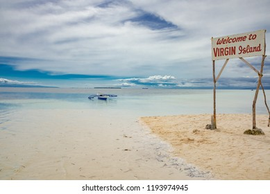 Bohol. Philippines - January 10 2016:Virgin Island in the tropical sea of the Philippines with small wooden restaurants on the long white sandy beaches in the Philippine sea