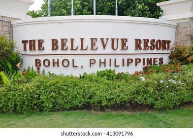Bohol, Philippines - June 22, 2014: Signage of Bellevue Resort in Bohol, Philippines.