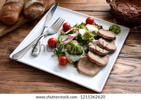Boiled Beef Tongue Baked Fresh Vegetables Stock Photo (Edit Now ... 95b07040110a