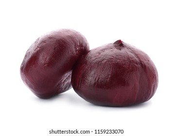 Boiled beets on white background. Taproot vegetable
