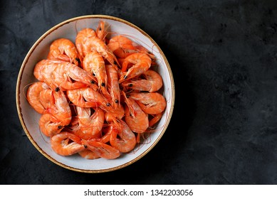 Boiled big sea prawns (shrimps). Healthy food. Top view. Copy space.