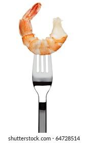 boiled black tiger prawn sticking on fork, isolated on white background
