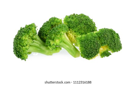 boiled broccoli vegetables isolated on white background
