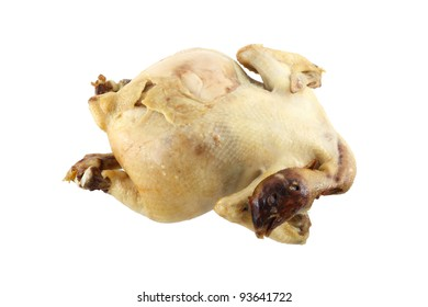 Boiled chicken meat on white background.