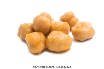 boiled chickpeas on a white background