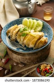 Boiled ckicken sliced asia styl - Shutterstock ID 1873086190