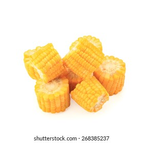 Boiled corn isolated on white background.This has clipping path.
